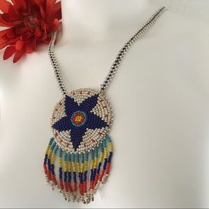 Native Seed Bead Dream Catcher Necklace Vintage